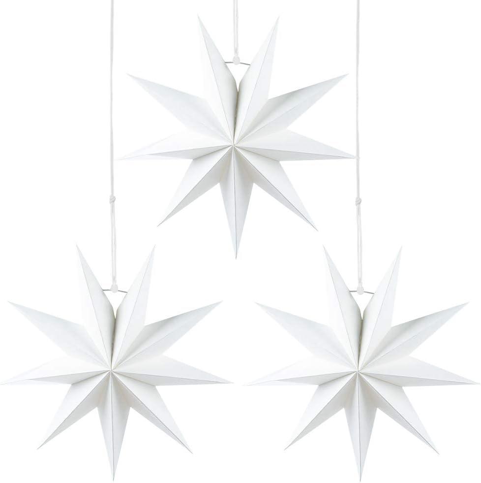 Wishstar Estrellas Navidad Papel Blanco, 3 Pcs Estrella Papel, Estrella de Techo Pantalla Colgante Adorno para Navidad, Año Nuevo, Boda, Cumpleaños, Fiesta Decoración del Hogar
