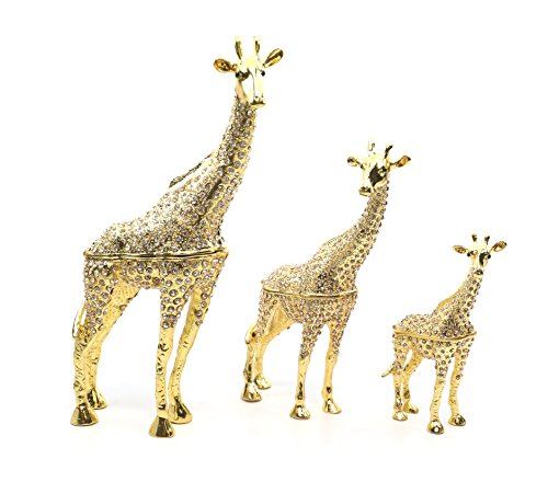 Faberge Box Decorative Enameled Figurines, 24K Gold Trinket Jewelry Box with Swarovski Crystal (Gold Giraffes) - Enameled Giraffe