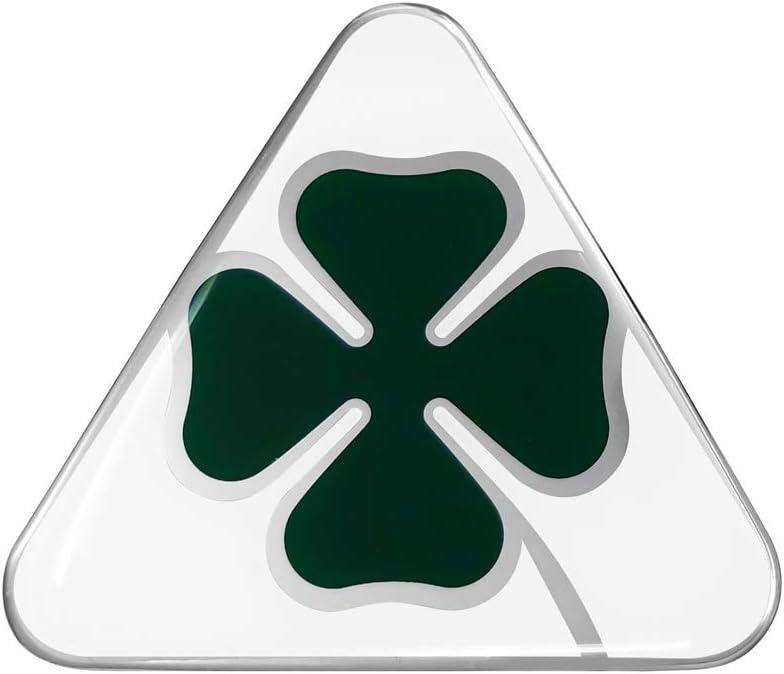 3D Sticker Alfa Romeo Four-Leaf Clover, Green and White, 10 cm