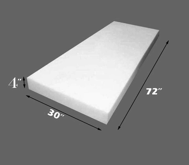 Upholstery Foam 4'' Thick, 30'' Wide x 72'' Long Medium Density by Medium Density Foam