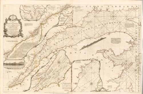 1782 Map An exact chart of the river St. Laurence,from Fort Frontenac to the island of Anticosti shewing the soundings,rocks,shoals &c with views of the lands and all necessary instructions - Buy Best Locator Store Georgia