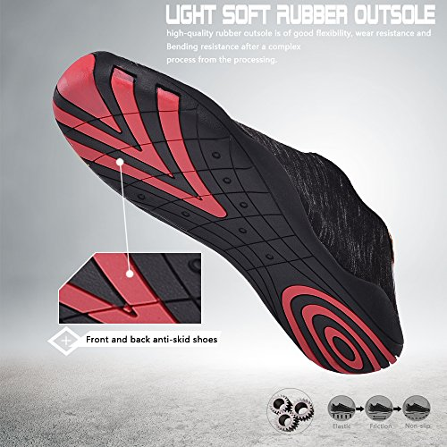 UNN Water Shoes Multifunctional Quick-Dry Barefoot Flexible Skin Aqua Socks For Beach Swim Surf Yoga Exercise Black sG16G