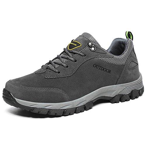 Zapatos atléticos con Cordones Resistentes al Desgaste para Hombres Gris