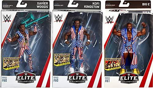 Ringside Package Deal The New Day (Xavier Wood - Elite 60, Kofi Kingston - Elite 60 & Big E - Elite 61) Elite WWE Toy Wrestling Action Figures ()