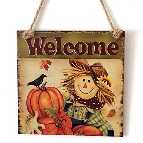Zehui Wooden Door Thanksgiving Plaque Scarecrow Wall Doorplate Hanging Sign Home Bar Decoration 15x5x0.5cm