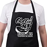 BBQ Apron Funny Aprons For Men Chillin  n Grillin  Barbecue Grill Kitchen Gift
