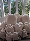 8 x 10 Inches COTTON CANVAS DOUBLE DRAWSTRING MUSLIN BAG. NATURAL COLOR. (100)