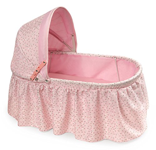 Badger Basket Folding Doll Cradle with Rosebud Fabric (fits American Girl -