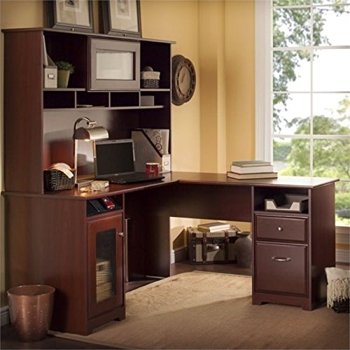 Cabot L Shaped Desk with Hutch in Harvest Cherry