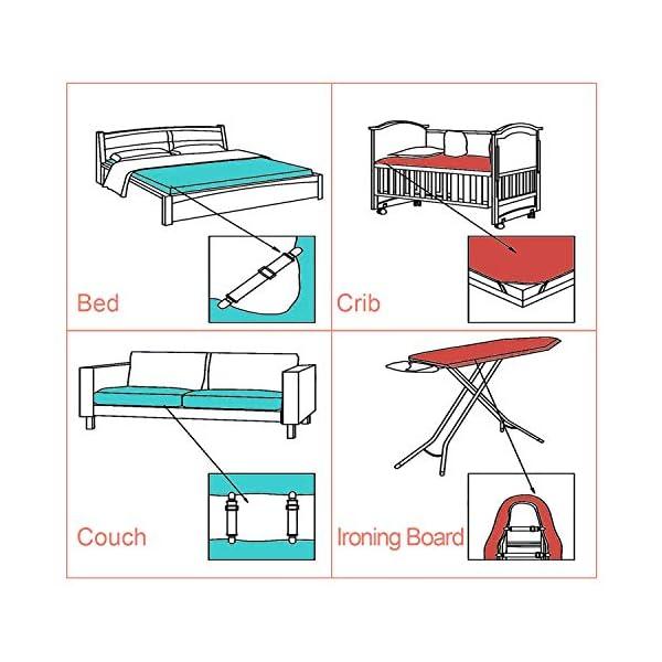 51RX%2BLfGVwL Verstellbare Bettlakenspanner, 8 Stück Elastische Bettlakenspanner, Weiß Betttuchspanner, Lakenspanner mit Metallclips…