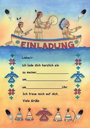 Indianer Einladungen Kindergeburtstag Geburtstag 12er Set NEU