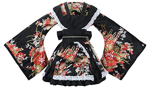 Sheface Women's Cosplay Lolita Fancy Dress Japanese Kimono Anime Costumes (Medium, P02 Black)