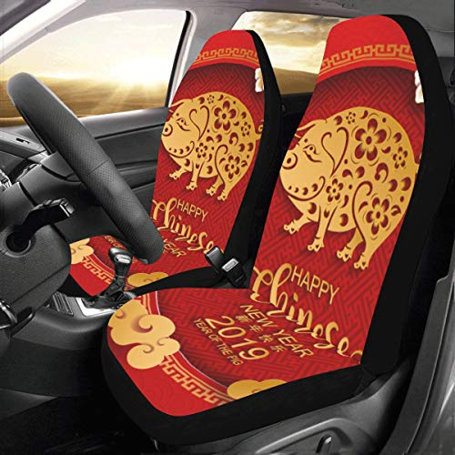 Red Happy New Year Pig Custom New Universal Fit Auto Drive Car Seat Covers Protector for Women Automobile Jeep Truck SUV Vehicle Full Set Accessories for Adult Baby (Set of 2 Front)