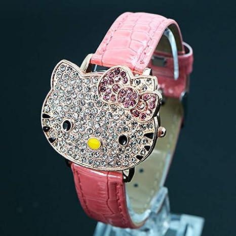 AAIND - Reloj de Pulsera de Cuarzo con diseño de Hello Kitty, para niñas y Mujeres, de Cristal, de Color Rosa: Amazon.es: Deportes y aire libre