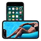 Luxlady Premium Apple iPhone 7 Plus Aluminum Backplate Bumper Snap Case IMAGE ID 1490639 Woman s figure relaxing in inflatable tube in swimming pool