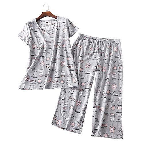 Women's Pajama Sets Short Sleeve Tops with Capri Pants Cotton Sleepwear Ladies Sleep Sets