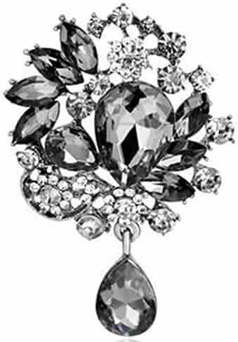c267c3f1918 Bai You Mei Womens Classic Style Clear Glass Flower Brooch Pin Crystal  Rhinestone Jewelry 11 Syles