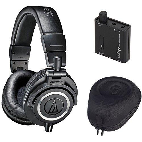 Audio Technica ATH-M50X Headphones Slappa Case Headphone Amplifier Black