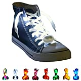 BestShow LED Light Shoelaces, High Visibility Soft Nylon Light Up Shoelace RGB Colorful with 3 Modes Rainbow Colors for Running Biking, Disco Party, Cosplay, Hip-hop Dance (White)