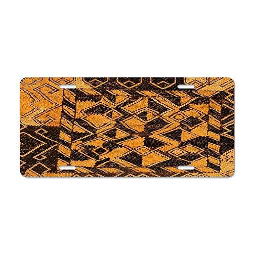 (Blingreddiamond Raffia Kuba Pattern 9 License Plate Cover Stylish Design Cover Car Auto Tag Metal Plate 6x12Inch)