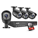 SANNCE Security Camera System, 4CH 1080P DVR with 1TB Surveillance Hard Drive and (4) 1080P 2.0 MP HD Outdoor Weatherproof CCTV Cameras, 120ft night vision, Motion Alert and Remote Access