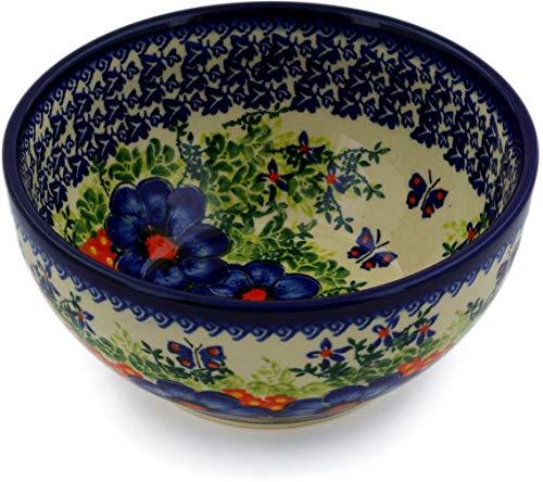Polish Pottery 6¼-inch Bowl (Enchanted Beauty Theme) Signature UNIKAT + Certificate of Authenticity