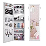 Professional Lockable Jewelry Cabinet Wall Door Mounted Jewelry Armoire Organizer with Mirror US STOCK (white)