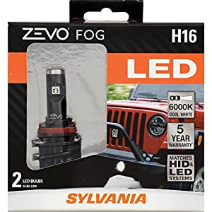 SYLVANIA ZEVO H16 LED Fog Light Bulbs, (Contains 2 Bulbs)