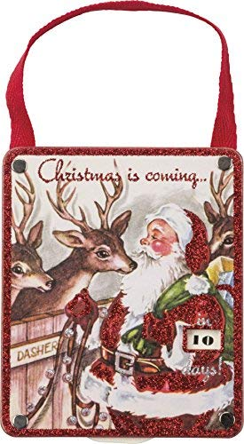 Primitives By Kathy Countdown 3.75 Inches x 4.50 Inches Christmas Is Coming Santa Sign ()