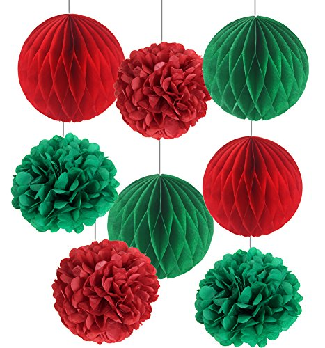 SUNBEAUTY Pack of 8 Christmas Decoration Red Green Honeycomb Balls Tissue Paper Pom Poms Xmas Accessory Party Decoration