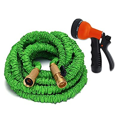 ANTEQI 50 Feet Flexible Stretch Expandable Garden Hose,Strongest Hose, Water Hose, Best Hoses,with Solid Brass Connectors & 8-pattern Spray Nozzle For Dock Warehouse Garden Plant,Easy Home Storage