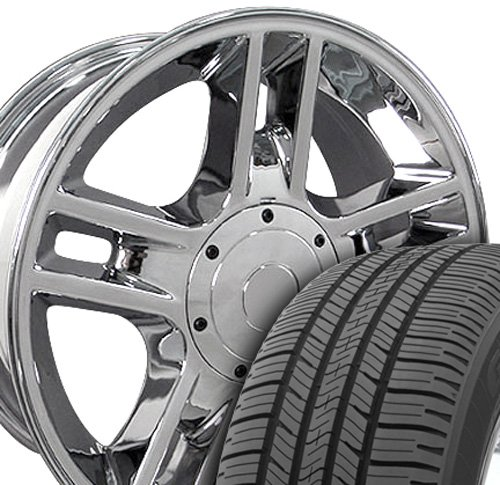 F150 Chrome Rims (20x9 Wheels & Tires Fit Ford - F-150 Harley Style 5 Lug Chrome Rims w/Goodyear Tires, Hollander 3410- SET)