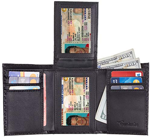 Travelambo RFID Leather Trifold Wallets for Men Credit Card Holder with ID Window (carbon fiber texture black)