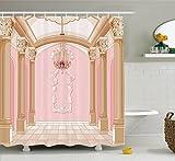 bathroom ceiling ideas Ambesonne Teen Girls Decor Shower Curtain Set, Interior of The Ballroom Magic Castle Chandelier Ceiling Columns Kingdom Print, Bathroom Accessories, 69W X 70L Inches