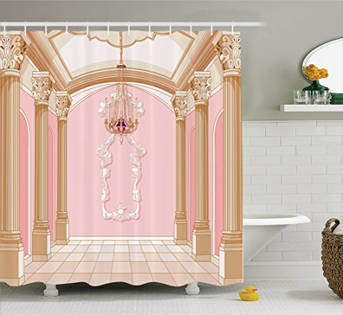 Ambesonne Teen Girls Decor Shower Curtain Set By, Interior Of The Ballroom Magic Castle Chandelier Ceiling Columns Kingdom Print, Bathroom Accessories, 69W X 70L Inches