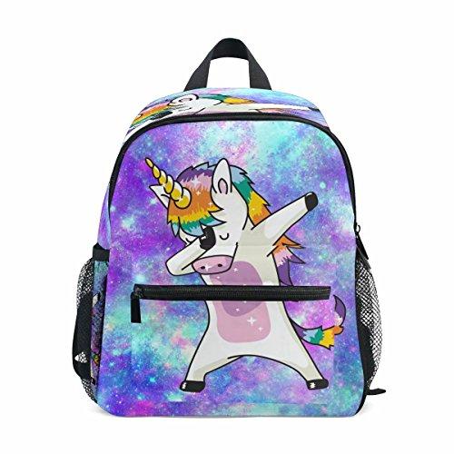 Dab Unicorn School Backpack for Girls Galaxy Cute Bookbags Elementary School Bags 10''x 6'' x 12'' for 1th- 3th Grade Kids Girls Boys by WHBAG