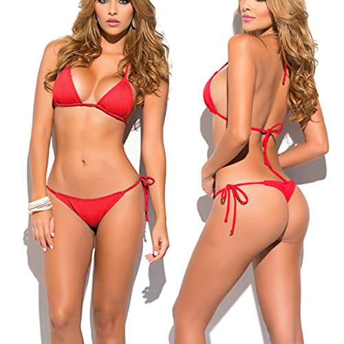 SHERRYLO Solid Women's Thong Bikini Set (Red)