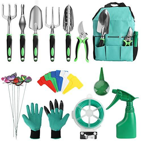 13 Piece Garden Tools Set, welltop Garden Hand Tools Set Aluminum Heavy Duty Gardening Tools Kit Include Trowel…