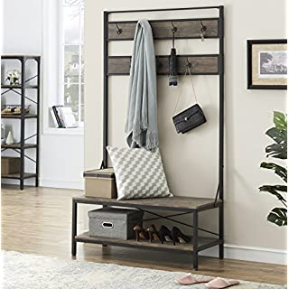 Ou0026K Furniture 72 Inch Hall Tree With Storage Bench For Hallway And  Entryway, Heavy Duty
