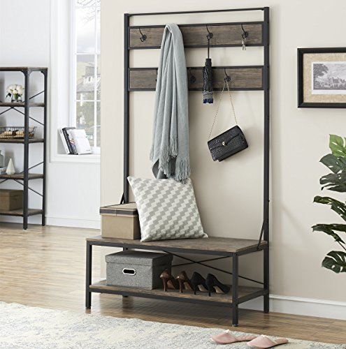 O&K FURNITURE 72 Inch Hall Tree with Storage Bench for Hallway and Entryway, Heavy Duty 7 Hooks Coat Rack with Shoe Bench, Gray-Brown Finish (Bench Tree Rack)