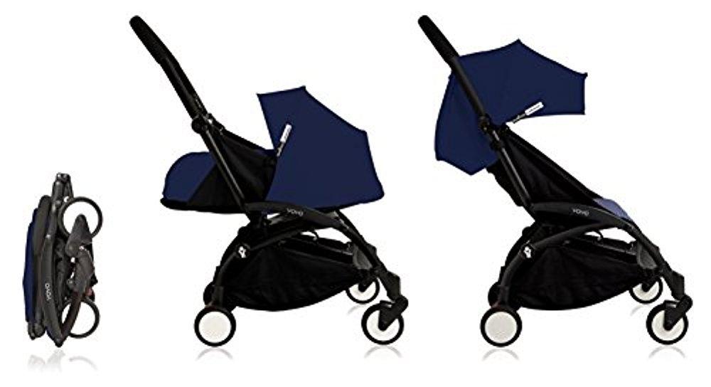 Babyzen Yoyo+ Stroller Complete - Black Frame - 0+ Newborn Pack - 6+ Color Pack - Air France Blue