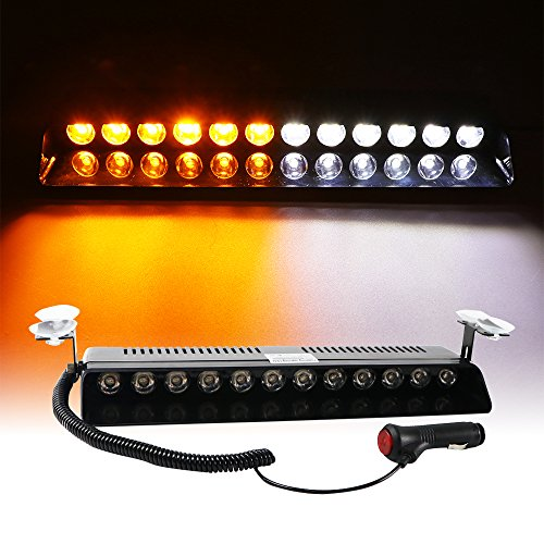 KOOLGO 12W 12 Led Car Truck Emergency Strobe Flash Light Bar Windshield Warning Beacon Lights (Amber/White)