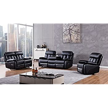 American Eagle Furniture 3 Piece Dunbar Collection Complete Faux Leather  Reclining Living Room Sofa Set. Amazon com  American Eagle Furniture 3 Piece Dunbar Collection