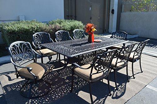 Elizabeth Outdoor Patio 9pc Dining Set 44