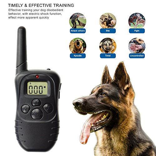 Dog Training Collar, Outdoor Pet trainer, Shock Bark Collar With Remote, Electronic For Large Small dogs- Waterproof, 15Lbs - 100Lbs, 300 Meters Range by Liife (Image #2)