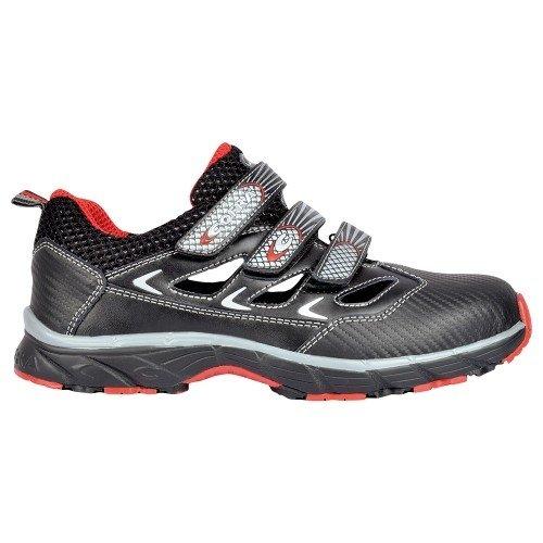 """Cofra Sandalia de seguridad S1P """"New Big Fresh workflying de serie luftiger zapato de trabajo con diseño deportivo con tapa de acero con suela de goma piel negro pedalada Protección"""