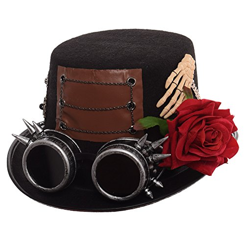 GRACEART Steampunk Top Hats With Silver Color Goggles Red Rose Head circumferences-58CM]()