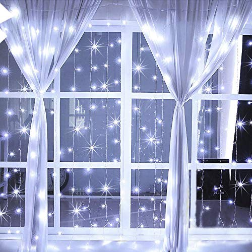 Hopolon 304 LED Window Curtain Lights,8 Modes Plug in Twinkle FairyLights,Outdoor Indoor StringLights Wedding Party Home Garden Bedroom Wall Decorations,UL Certified 9.8ft9.8ft(Cool White)