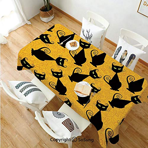 Vintage Decor Rectangle Polyester Tablecloth,Black Cat Pattern on Orange Background Halloween Witch Pet Graphic Decorative,Dining Room Kitchen Rectangle Table Cover,60W X 120L inches,Black Orange]()