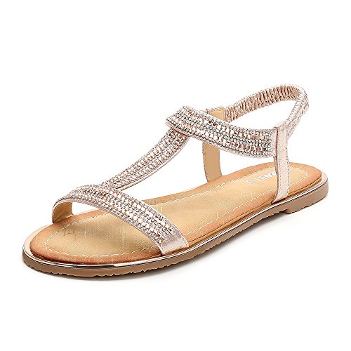Meeshine Women T-Strap Rhinestone Beaded Gladiator Flat Sandals Summer Beach Sandal Pink-06 US 8.5